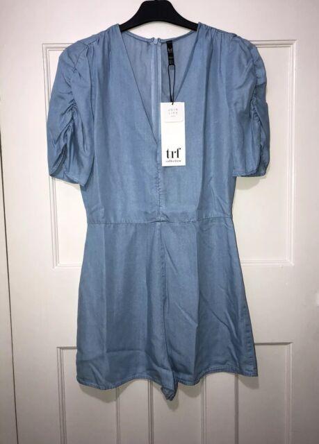 3b70c0f9194a Zara Light Blue Tencel Denim Short Jumpsuit Playsuit Size S for sale ...
