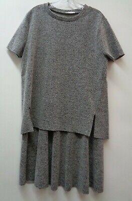 4ac17e30ba Zara Large Womens Top Shirt Blouse Skirt Set Gray 2 Piece Made in ...