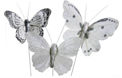 DEKO Feder Schmetterlinge 12 STÜCK creme weiss am Draht 8-9,5cm Hochzeit