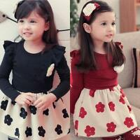 Baby Kids Girls Long Sleeve Floral Party Dresses Toddler Ruffle Tutu Skirts 1-6Y
