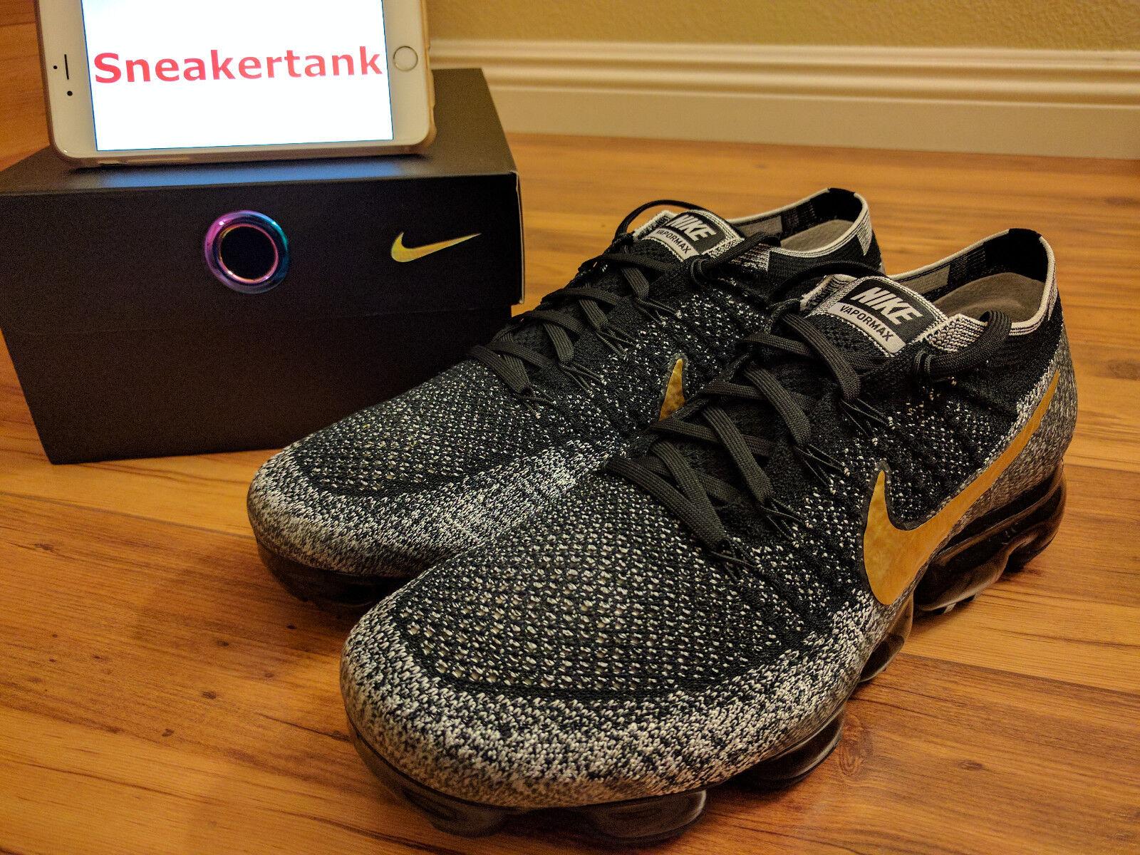 DS Nike Vapormax Flyknit iD Black White gold Oreo Sz 10.5 Men nikelab 941834-993
