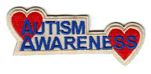 """2/"""" X1.25/"""" Autism Awareness Ribbon Self-Adhesive Patch Jigsaw Puzzle Iron On"""