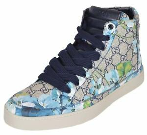 a12d3fbd NEW Gucci Men's 407342 GG BLOOMS Blue Coated Canvas High Top ...