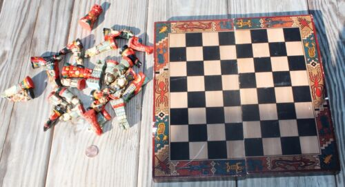 Vtg Colorful 28 Pc Wooden Folding Chess Board