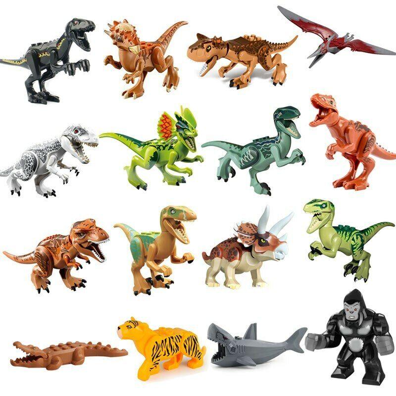 Jurassic Dinosaur Set Building Block Toy Figure Indoraptor Velociraptor Tricerat