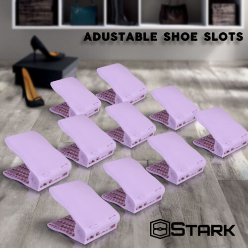 Shoe Slots Saver Shoe Organizer Adjustable Rack Storage Holder PURPLE 2 Pairs