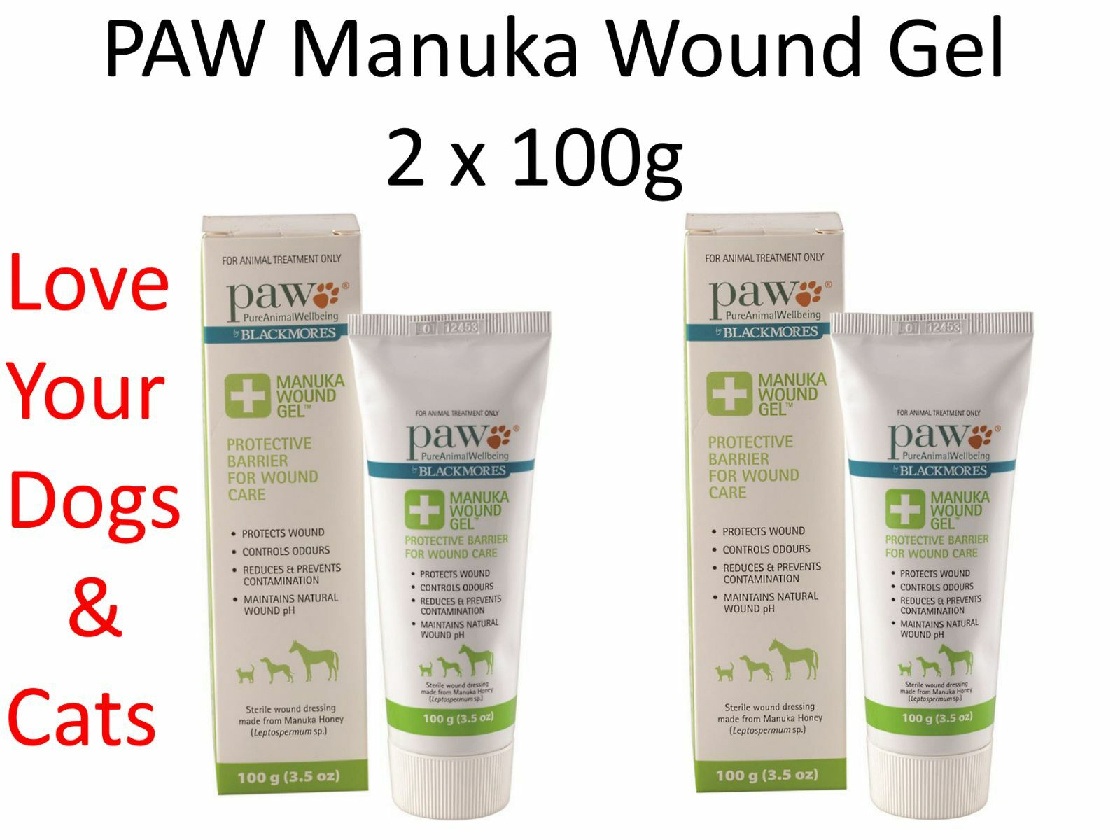 2 x 100g PAW Manuka Honey Wound Gel for Dogs Cats & Horses  (by neroMORES )