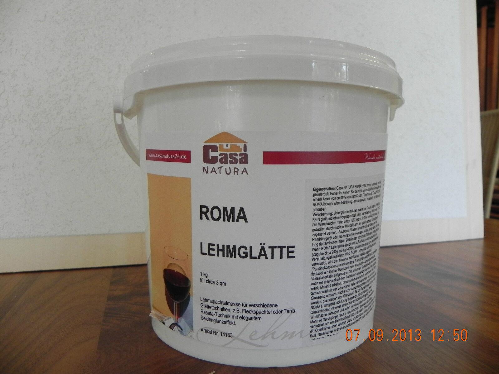 CasaNatura Lehmglätte Glanzspachtel Roma  3Kg für ca. 9m² naturweiss abtönbar