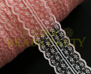 10yard-45mm-Fabric-Embroidered-Lace-Bilateral-Trim-Ribbon-Craft-Sewing-Baby-Pink