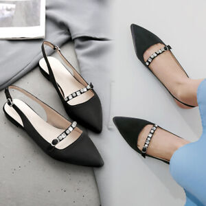 Pointed-Toe-Women-039-s-flats-rhinestones-slingbacks-shoes-casual-loafers-shoes