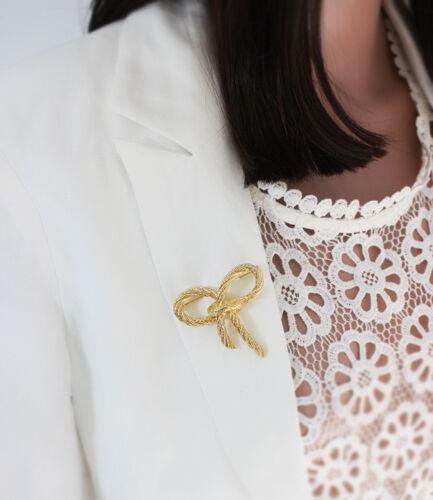 Broche Doré Noeud Papillon Elegant Vintage Original XZ 3