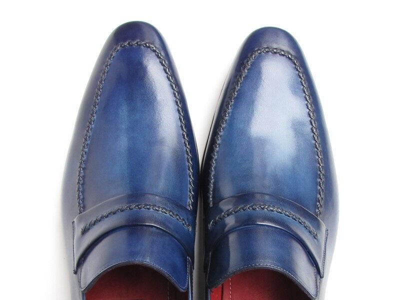 paul parkman hommes est paresseux, dessus en cuir naturel naturel cuir et chaussures semelle en cuir marine (idblu) 194698