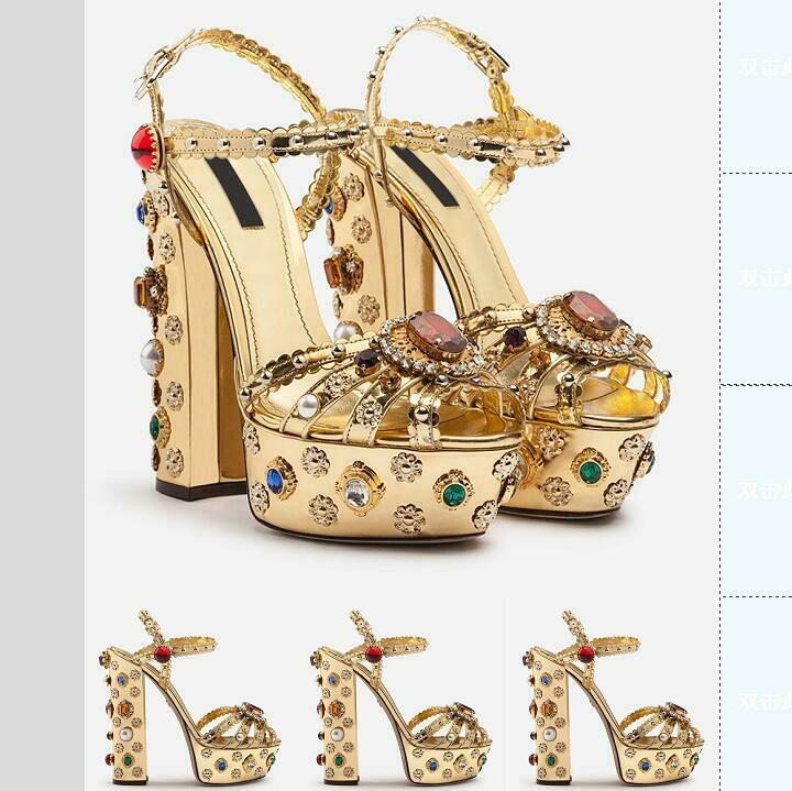 Womens Multi-color Rhinestones Palace Style gold High Block Heels Buckle Sandals