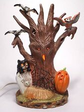Retro Porcelain Halloween Tree Light Up Decoration Brunhilde Prettique 1992 EUC