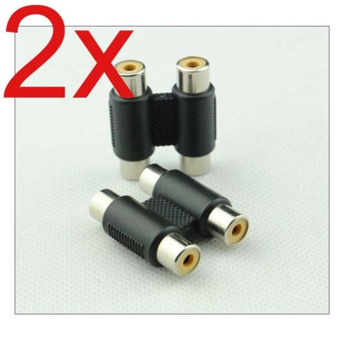 2Pcs Dual Port 2 RCA AV Female Socket Joiner Coupler Adapter Connector