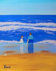 4x6 Art print of painting beach Gulf coast Florida Ocean seascape decor folk DC