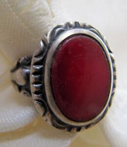 antiker-Ring-Herrenring-mit-rotem-Stein-echt-Silber-935-Gr-67-21-3-mm