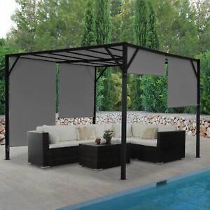 Details zu Pergola Baia, Garten Pavillon, 6cm-Stahl-Gestell + Schiebedach  grau