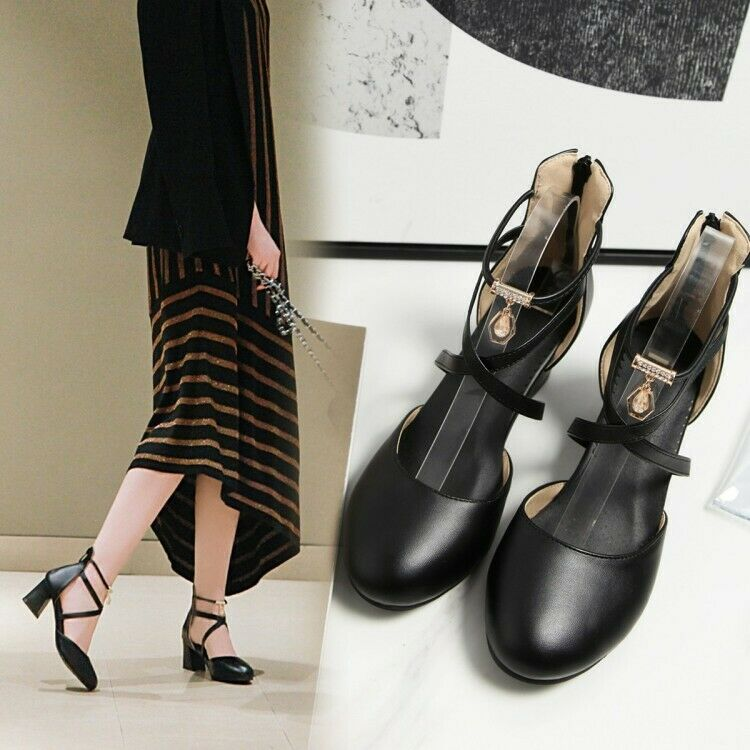 Women's Cross Strap Block Mid Heels Round Toe Pumps Faux Leather shoes Back Zip
