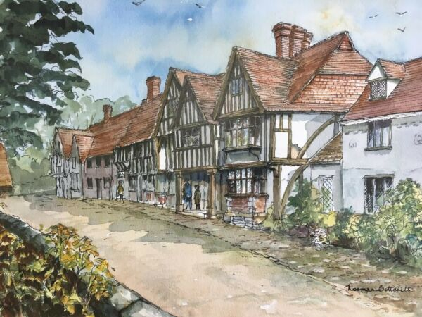 """chiddingstone"" Vicino A Tonbridge, Kent. Originale Acquerello Da Norman Botterill-"" Near Tonbridge, Kent. Original Watercolour By Norman Botterill"