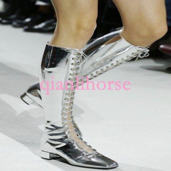 Femme Vogue Vogue Vogue Cuir Verni Bottier Bas Talon lacets Bout Carré bottes hautes 0757d2