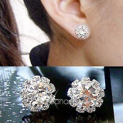 New Womens Swarovski Crystal 925 Sterling Silver Hook Dangle Ear Studs Earrings