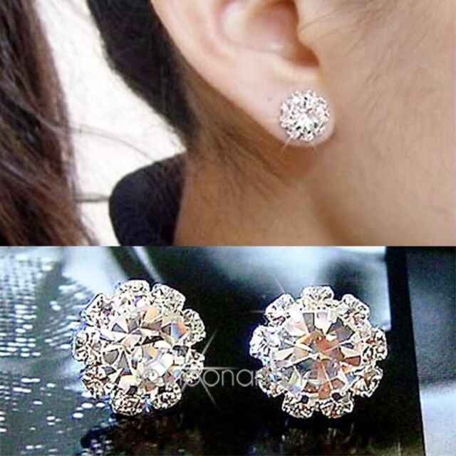 Korea Jewelry Swarovski Crystal Womens 925 Sterling Silver Earrings Ear Studs