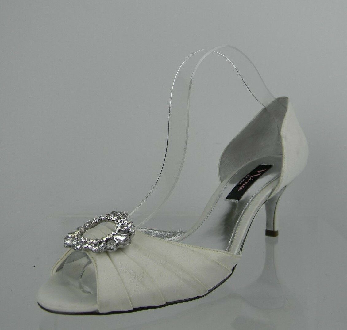 Womens Nina Crystah Shoes M White Heels Size 9 M Shoes 586cfa
