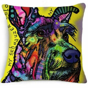 Multicoloured-SCHNAUZER-DOG-LINEN-COTTON-Pop-Art-CUSHION-COVER-17-034-X-17-034-UK-Sale