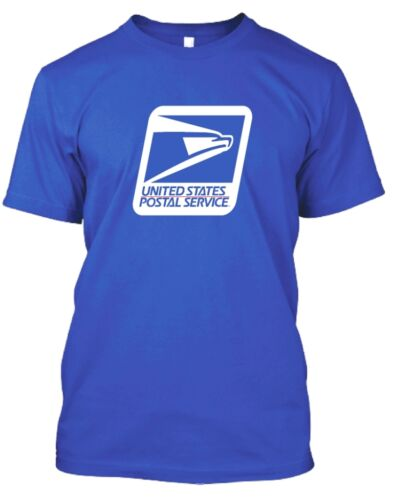 USPS POSTAL ROYAL T-SHIRT WITH LARGE FULL 2 COLOR USPS LOGO ON FRONT CHEST S-5X