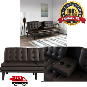 Memory-Foam-Sofa-Bed-Couch-Convertible-Futon-Leather-Cup-Holder-Pillow