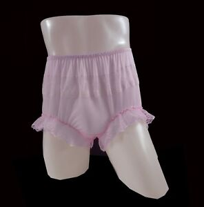 334e7802ebc8 FAIR PINK Panty Nylon Panties VTG Briefs High Waist Knicker Lace ...