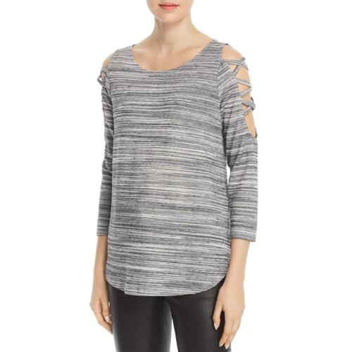 Status by Chenault Womens Space Dye Cut-Out Pullover Top Shirt BHFO 0065