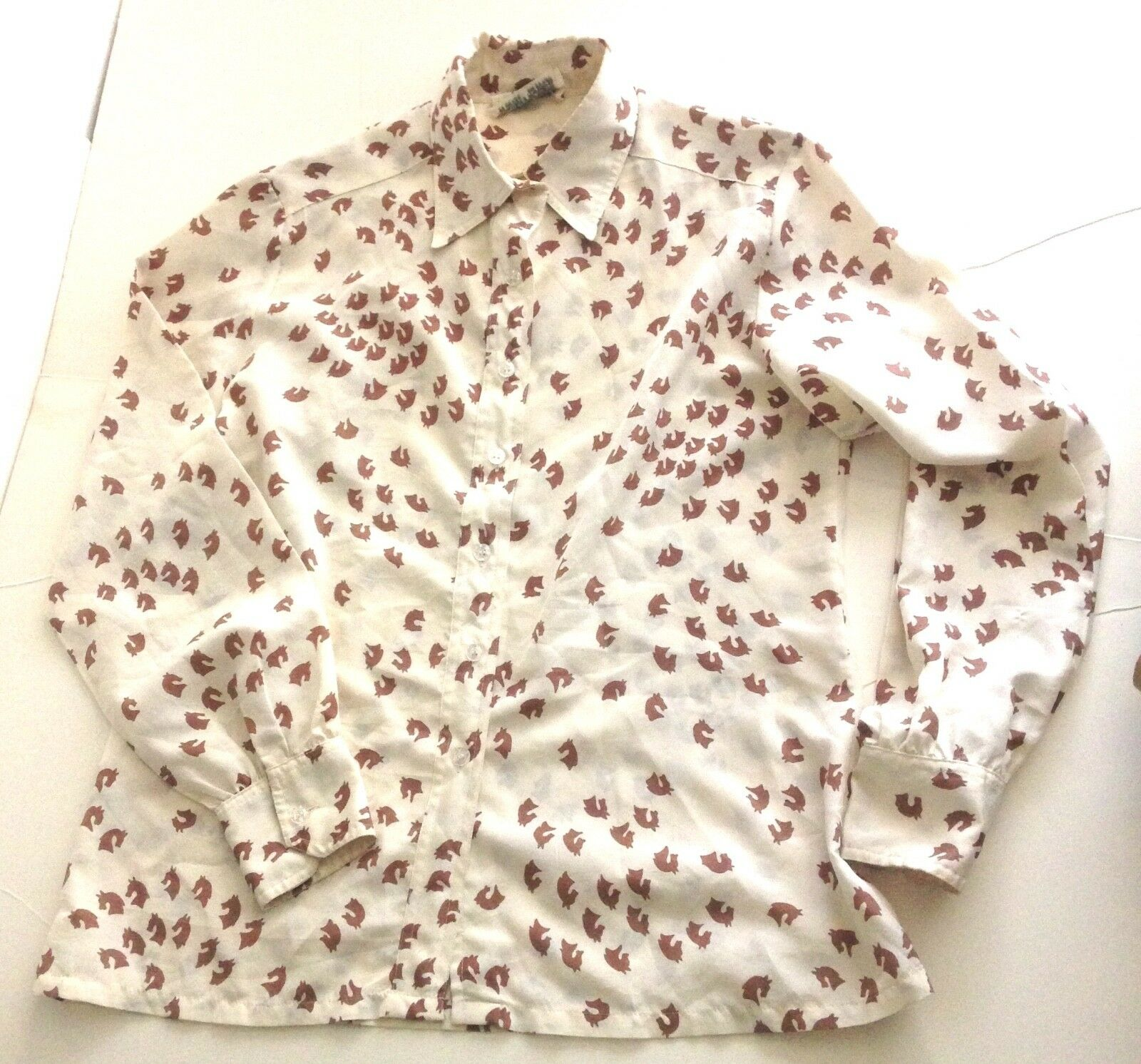 Womens Vintage 60s HOOPER Equestrian Horse Print Polyester Blouse Shirt Top SZ M