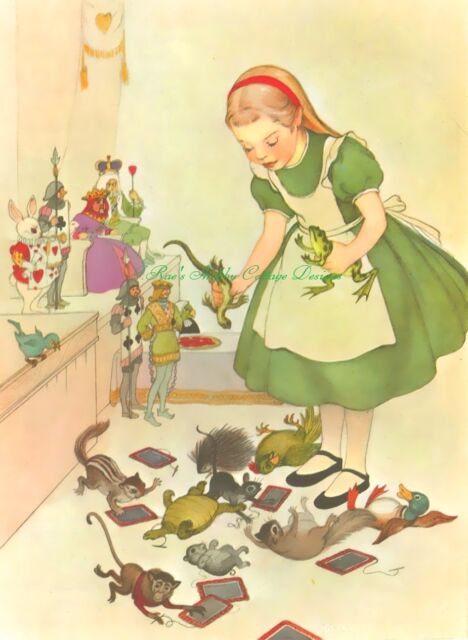 ALice In Wonderland in Green Vintage Illustration Caterpillar 5x7 Fabric Block