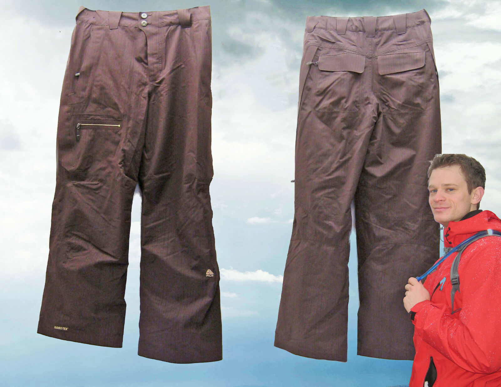NEW NIKE Men's ACG GORE-TEX Ski Snow Boarding Trousers Pants Brown XXL