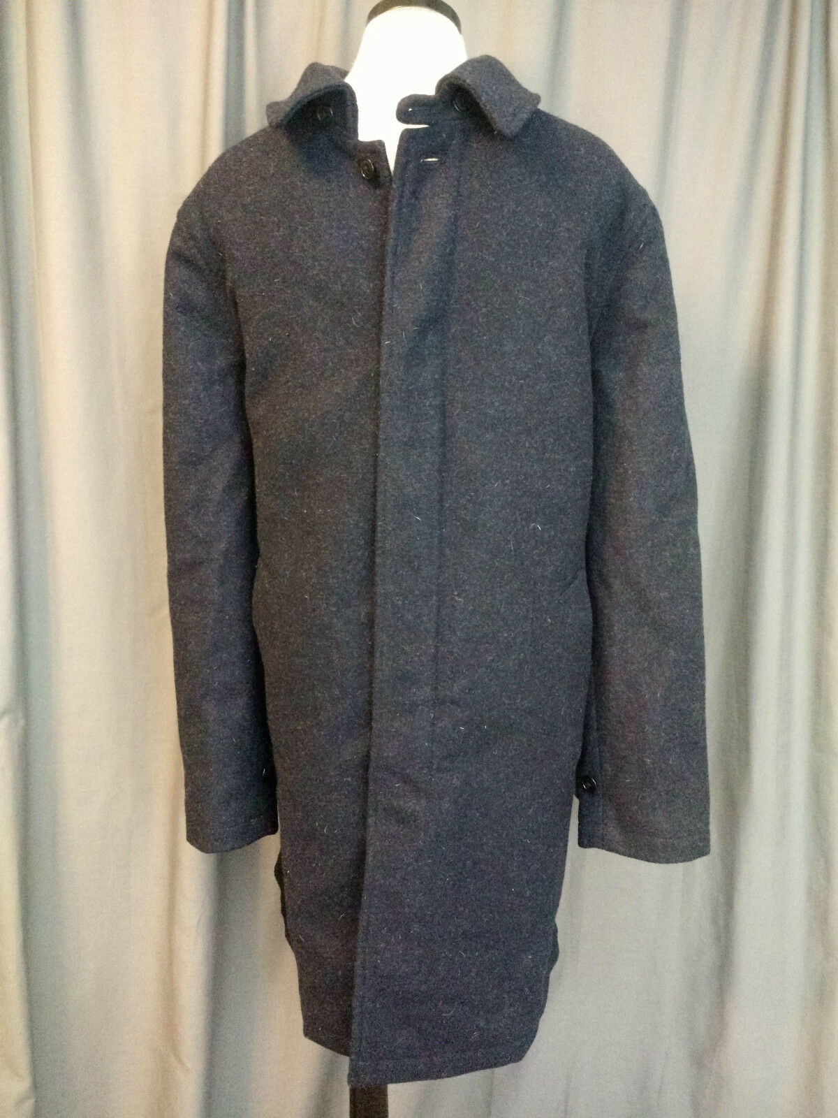 J CREW WOOL CAR COAT HEATHER NAVY SIZE 42 NWT