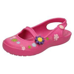 cordones sin Crocs Sandalias pink Flowers Fuchsia as para ni Gabby TACqqxw5