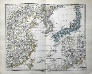 Japan-Korea-Eastern-China-Asia-Taiwan-1884-Stieler-detailed-map