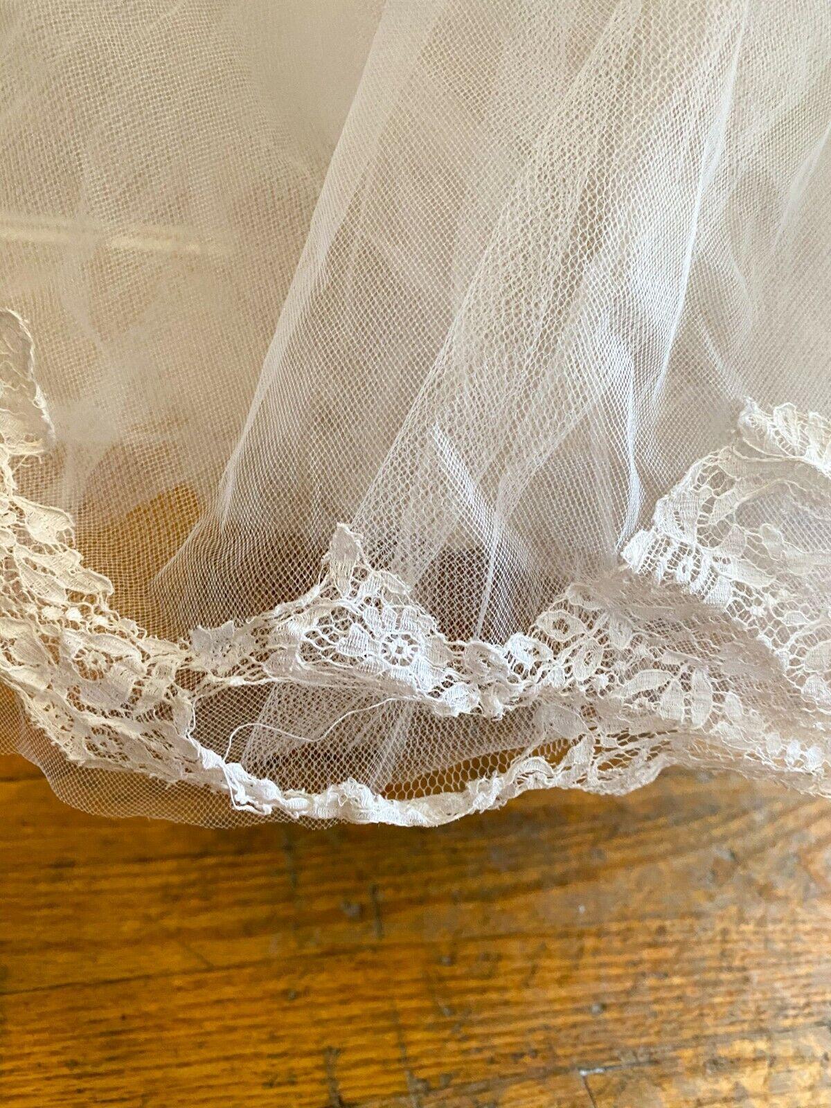 1950's Vintage Wedding Dress Lace w/Juliet Cap & … - image 9