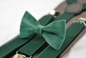 Emerald-Green-Dark-Green-Velvet-Bow-tie-Matched-Elastic-Suspenders-all-ages