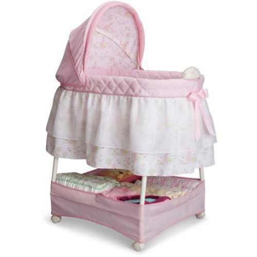 Gliding Bassinet Pink Princess Locking Wheels Plush Vibrating Musical Nite Light