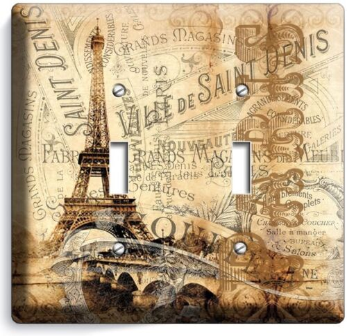PARIS EIFFEL TOWER VITAGE POSTER DOUBLE LIGHT SWITCH WALL PLATE COVER HOME DECOR