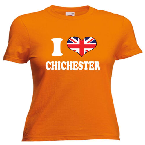 I Love Heart Chichester Ladies Lady Fit T Shirt 13 Colours Size 6-16