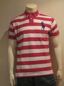Polo-Ralph-Lauren-Hombre-Camiseta-Talla-M-L-XL-XXL-BIG-PONY-Rayas-Purpura
