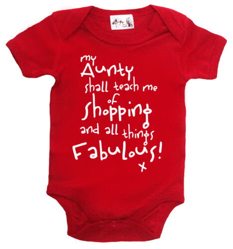 """Dirty Fingers /""""My Aunty shall teach me of Shopping/"""" Bodysuit Baby grow Aunt Gift"""