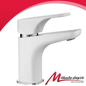 Waschbecken Einhebel Armatur Weiss Wasserhahn Mischbatterie Inkl