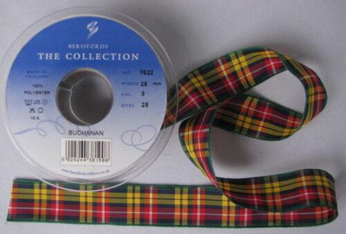 Buchanan Tartan Ribbon various widths cut lengths and 25m reels
