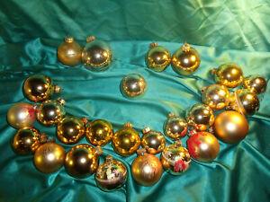 Konvolut-26-alte-Christbaumkugeln-Weihnachtskugeln-Glas-gold-Vintage-CBS