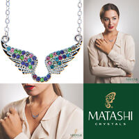 16 Rhodium Plated Necklace W/ Angel Wings & Multi-colored Crystals By Matashi on sale
